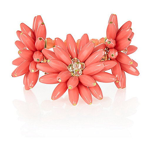 Coral 3D flower stretch bracelet