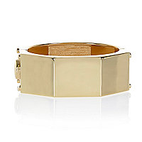 Gold tone hexagon clamp bangle
