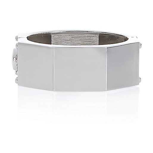 Silver tone hexagon clamp bangle