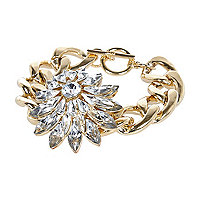 Gold tone clustered gem flower bracelet