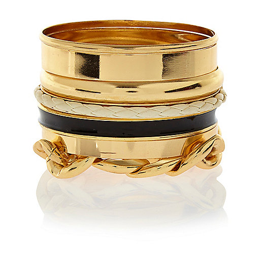 Gold tone mixed bangle pack