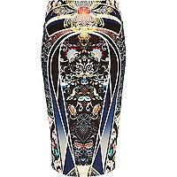 Navy placement geometric print tube skirt