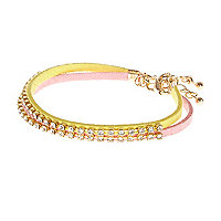 Pink and yellow diamante rope bracelets