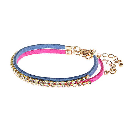 Pink and blue diamante rope bracelets pack