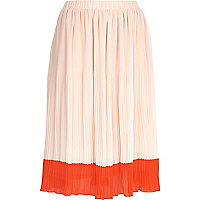 Light pink two-tone pleated midi skirt
