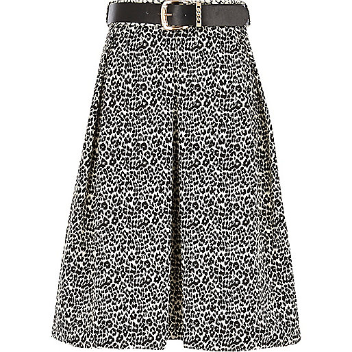 Black and white animal print midi skirt