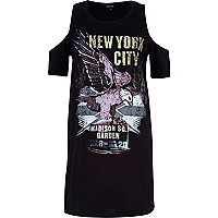 Black New York Eagles cold shoulder t-shirt