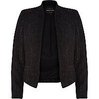 Black lurex tweed cropped blazer