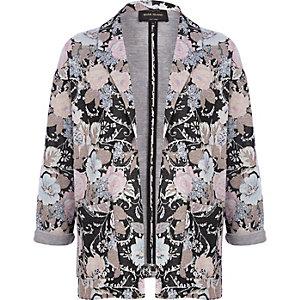 Black floral jacquard blazer