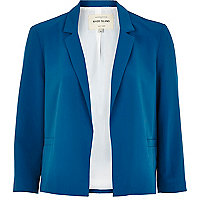 Blue boxy cropped blazer