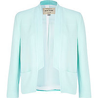 Light green inverted collar blazer