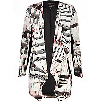 Pink geometric snake print waterfall jacket