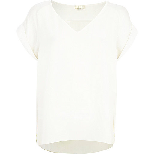 Cream woven V neck t-shirt