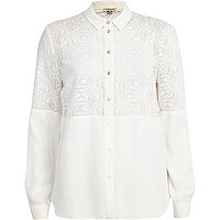 Cream burnout panel shirt