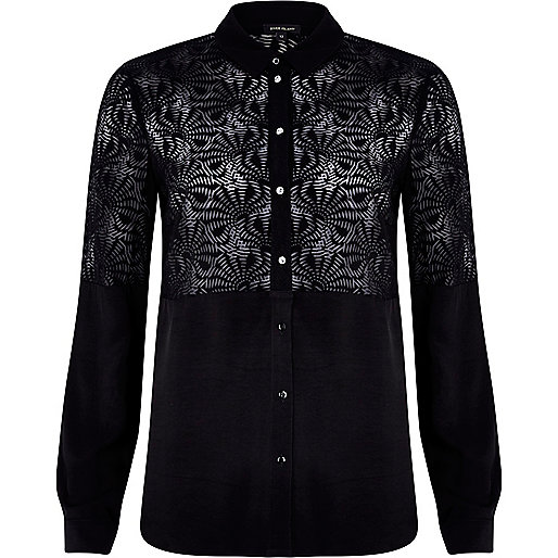 Black burnout panel shirt