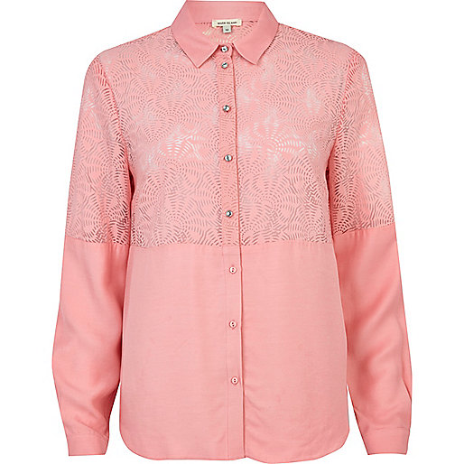 Pink burnout panel shirt