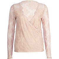 Light pink lace wrap top