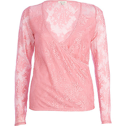 Bright pink lace wrap top
