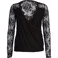 Black lace wrap top