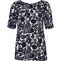 Navy floral burnout swing top