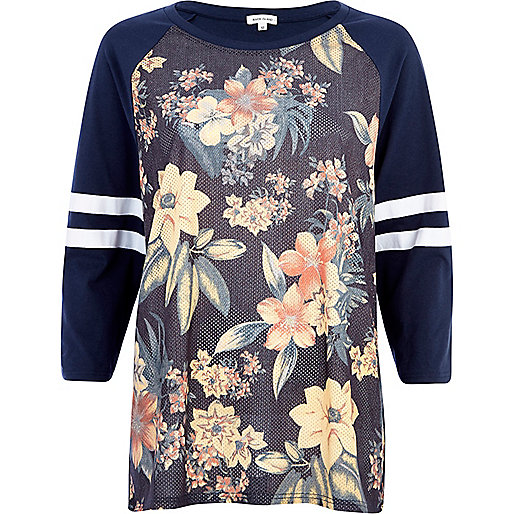 Navy floral mesh stripe sleeve t-shirt