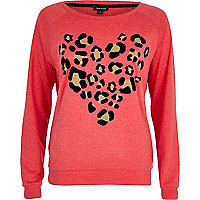 Red leopard print heart dolman top
