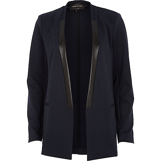 Navy contrast trim collarless blazer
