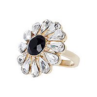 Gold tone gem stone flower ring