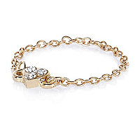 Gold tone diamante heart chain ring