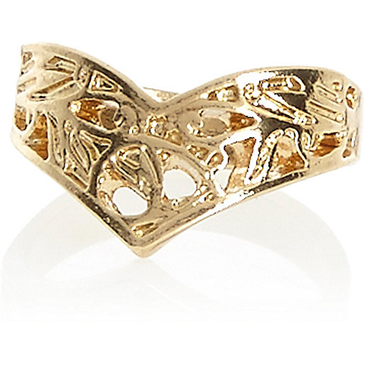 Gold tone filigree V midi ring
