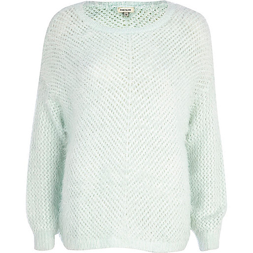 Pale green eyelash knit jumper
