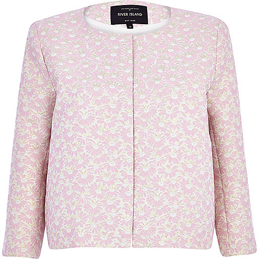 Light pink daisy jacquard cropped jacket