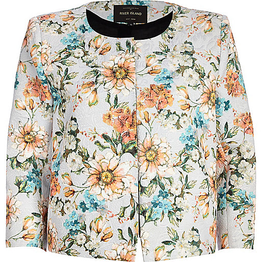 Light grey floral print cropped jacket