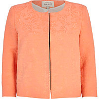 Orange floral jacquard cropped jacket