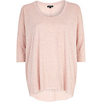 Light pink marl dip hem tunic