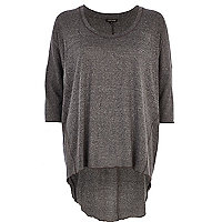 Dark grey marl dip hem tunic