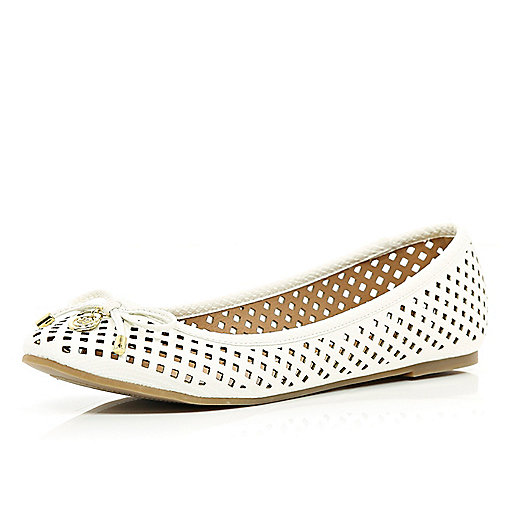 White laser cut ballet pumps