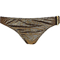 Gold metallic bikini bottoms