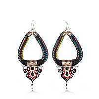 Black woven tribal dangle earrings