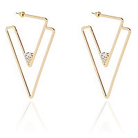 Gold tone double triangle hoop earrings