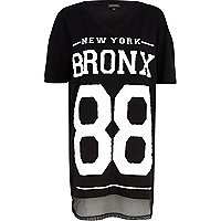 Black Bronx New York mesh hem t-shirt