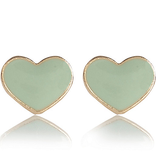 Light green enamel heart stud earrings