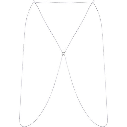 Silver tone thin chain body harness