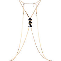 Gold tone slinky gem stone body harness