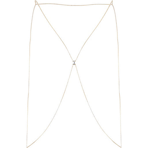 Gold tone gem stone body harness