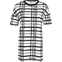 Black and white check print t-shirt