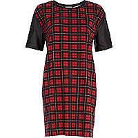 Red tartan oversized t-shirt dress
