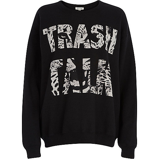 Black trash talk Leopard print sweatshirt