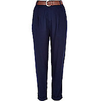 Navy high waisted belted trousers