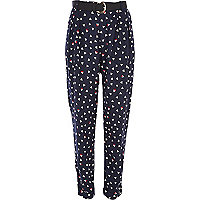 Navy triangle print belted trousers